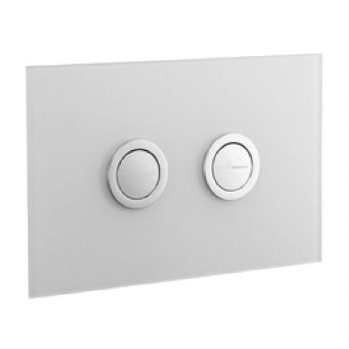 Abacus Lustrolite Press Panel Glass Effect Dual Flush Plate - Arctic